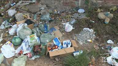 Moradores reclamam de lixo acumulado em calçadas de bairro em São Luís - Moradores do bairro São Bernardo afirmam que além do mau cheiro precisam se arriscar entre os carros pela falta de espaço na calçada.