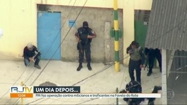 PM faz operação na comunidade do Rola, onde milicianos foram filmados de uniforme - Desde ontem foram apreendidos 10 fuzis e 16 pessoas presas em flagrante.