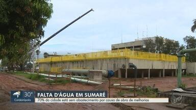 Obras interrompem fornecimento de água em 97 bairros de Sumaré - 70% da cidade está sem abastecimento por causa de obra de melhorias, nesta terça-feira (9).