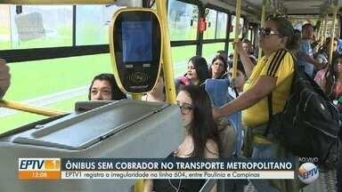 Ônibus da linha metropolitana 604, entre Paulínia e Campinas, circula sem cobrador - Situação sobrecarrega motoristas e prejudica serviço oferecido para passageiros.