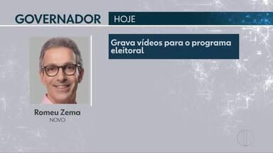 Confira a agenda dos candidatos ao governo de Minas para esta quarta-feira (10) - Romeu Zema (Novo) grava vídeos para programa eleitoral e Antônio Anastasia (PSDB) cumpre agenda parlamentar em Brasília.