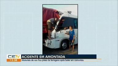 Motorista fica preso às ferragens em acidente entre van e caminhonete, em Amontada - Saiba mais em g1.com.br/ce