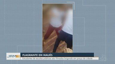 Estudantes são flagradas brigando em praça de Maués, no AM - Imagens foram divulgadas na internet.