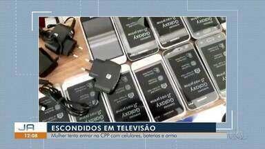 Mulher tenta entrar na CPP com 30 celulares, arma e munições - Mulher tenta entrar na CPP com 30 celulares, arma e munições