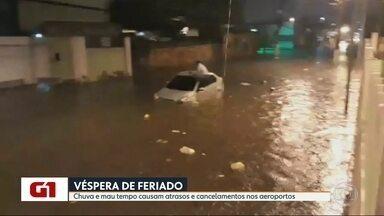 Chuva forte provoca alagamentos na região metropolitana do Rio - A chuva forte, que caiu no final da tarde de quarta-feia (10), surpreendeu os moradores da região metropolitana. Vários pontops registraram alagamentos. Veja como fica o tempo no feriado.