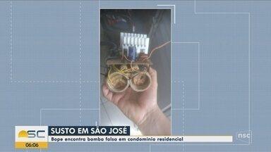 Bope faz retirada de objeto suspeito de ser artefato explosivo em condomínio de São José - Bope faz retirada de objeto suspeito de ser artefato explosivo em condomínio de São José
