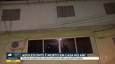 Adolescente é morto por padrasto em Santo André - Suspeito continua foragido