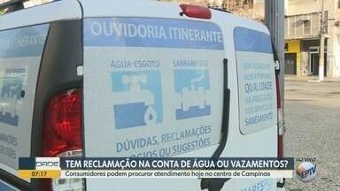 Ouvidoria itinerante recebe queixas de consumidores da companhia de água de Campinas - Empresa atenderá no Largo do Rosário, no Centro.