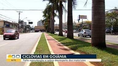 Moradores reclamam de más condições das ciclovias e desrespeito aos ciclistas, em Goiânia - Imprudência próximo às ciclofaixas, cicloviass são recorrentes.