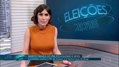 Márcio França (PSB) fez campanha em Suzano na manhã deste sábado (20) - Confira a agenda de campanha dos candidatos ao governo de São Paulo.