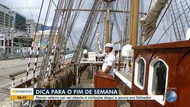Navio veleiro Cisne Branco recebe visitas em Salvador; veja curiosidades da embarcação - Patrimônio da Marinha representa o Brasil em eventos internacionais e tem estrutura antiga.