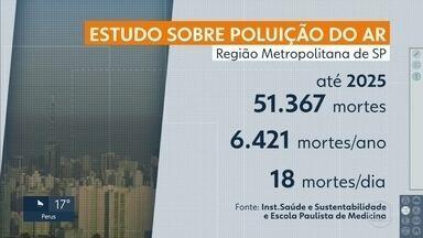 Mais de 50 mil pessoas podem morrer nos próximos 8 anos por causa da poluição na capital - O estudo foi divulgado pelo Instituto Saúde e Sustentabilidade e a Escola Paulista de Medicina. Se os níveis de poluição continuarem como estão, serão mais de 51 mil mortes na Região Metropolitana de São Paulo.