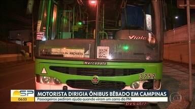 Motorista dirigia ônibus bêbado em Campinas - Passageiros pediram ajuda quando viram carro da PM