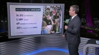 Unicamp libera consulta aos locais de prova - Mais de setenta e seis mil candidatos farão o vestibular. A consulta aos locais de prova é pela internet.