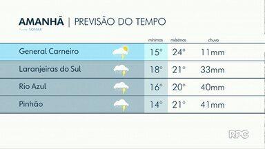 Sexta-feira será de chuva na região de Guarapuava - As temperaturas não sobem muito e as máximas devem chegar aos 24 graus.