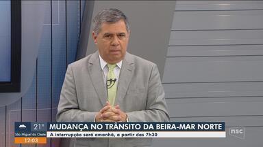 Obras da Casan alteram trânsito na Beira-Mar Norte neste sábado(27) - Obras da Casan alteram trânsito na Beira-Mar Norte neste sábado(27)