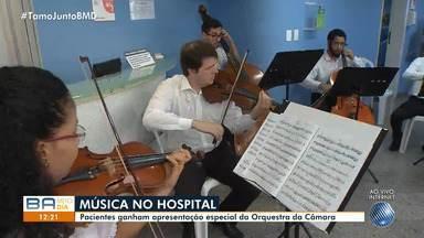 Pacientes de hospital ganham apresentação especial da Orquestra da Câmara de Salvador - A iniciativa faz parte do projeto 'Música nos Hospitais' que está acontecendo em todo Brasil.