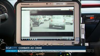 Polícia ganha carros equipados com câmeras - As câmeras fazem leituras instantâneas das placas dos veículos para procurar irregularidades.