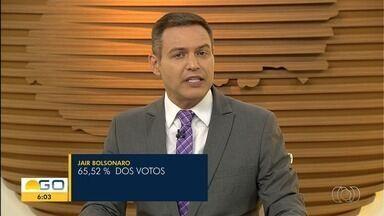 Jair Bolsonaro é eleito presidente com 65,52% dos votos dos goianos - Fernando Haddad alcançou 34,48%.