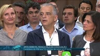 Após derrota, Márcio França fala em conciliação - Candidato do PSB teve 10 milhões de votos no 2º turno