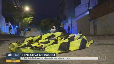 Policial civil atira em adolescente suspeito de tentativa de roubo em Belo Horizonte - Segundo a PM, rapaz de 15 anos estava armado e teria tentado roubar carro de policial.