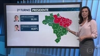 Veja como foi a votação de Jair Bolsonaro e Fernando Haddad nos estados - Bolsonaro venceu em 15 estados, no Distrito Federal, e também em 21 capitais. Ganhou nas regiões Sul, Sudeste e Centro-Oeste. Já Fernando Haddad venceu em 11 estados; nove na região Nordeste e dois na região Norte.
