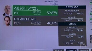 Wilson Witzel (PSC) é eleito governador do RJ - Wilson Witzel obteve 59,87% dos votos válidos. Eduardo Paes (DEM) ficou com 40,13%. A abstenção chegou a 24,07%.