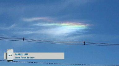Telespectadora registra nuvem colorida em Santa Tereza do Oeste - Fenômeno é conhecido como irisação.