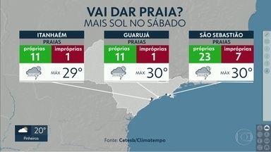 Saída de feriado com previsão de chuva em todas as regiões do estado de SP - Tempo, no litoral, estará melhor no sábado. Confira a previsão completa.