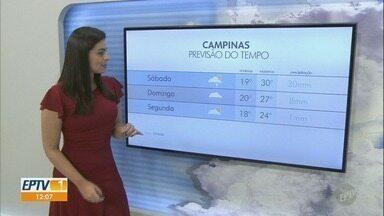Saiba como fica a previsão do tempo para Campinas e região - Sábado tem máximas de 30°C em Campinas com previsão de chuva no final da tarde.