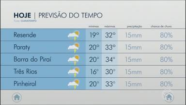 Fim de semana será de chance elevada de chuva no Sul do RJ - Temperaturas altas aumentam umidade nas cidades da região.