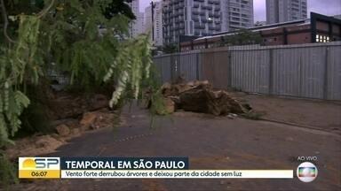 Temporal do fim de semana derruba árvores e interdita ruas e avenidas na capital - Equipe do BDSP mostra árvore gigante caída na rua São José, zona sul da cidade