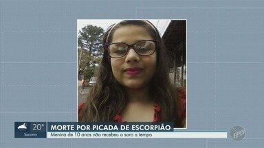 Menina de 10 anos morre após ser picada duas vezes por escorpião em Santa Bárbara d'Oeste - Criança foi socorrida e levada para o pronto socorro, mas o soro não chegou a tempo.