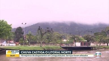Chuva castiga o litoral Norte - Registros de desabamentos e famílias desabrigadas em Caraguatatuba