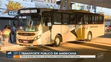 Nova empresa assume serviço de transporte público em Americana e confunde passageiros - Como motoristas da Viação Princesa Tecelã continuam em greve, a nova empresa Sou Americana, que assumiria em dezembro, começou a operar nesta segunda-feira (12).
