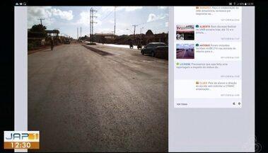 Tô na Rede: moradores reclamam de demora em obra na Av. 13 de Setembro, em Macapá - Internauta registrou pelo aplicativo da Rede Amazônica, relatando que a obra está parada desde o fim das eleições.