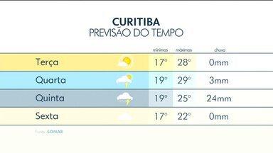 A terça (13) deve ser mais um dia quente e seco em Curitiba - A máxima chega a 28 graus.
