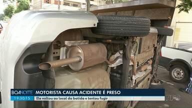 Motorista provoca acidente e é preso ao voltar ao local da batida - O acidente foi neste domingo (11), em Maringá. Dois carros bateram e um dos veículos tombou.