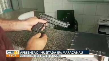 Apreensão inusitada em Maracanaú. Livro falso escondia arma e munição - Confira outras notícias no g1.globo.com/ce