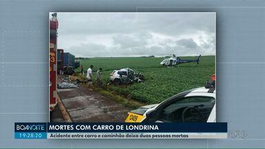Acidente entre carro e caminhão deixa duas pessoas mortas - O acidente foi no oeste do estado. As vítimas são de Londrina.