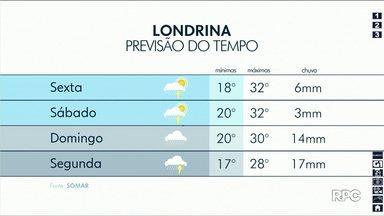 Previsão de chuva nos próximos dias em Londrina - As temperaturas permanecem altas.