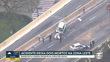 Globocop sobrevoa acidente no viaduto Engenheiro Alberto Badra, na zona leste - 2 pessoas morreram em batida que envolveu pelo menos 3 carros.