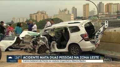 Acidente mata duas pessoas na zona leste da Capital - Batida foi de frente no viaduto Engenheiro Alberto Badra. O irmão de uma das vítimas viu tudo e também teve o carro atingido.
