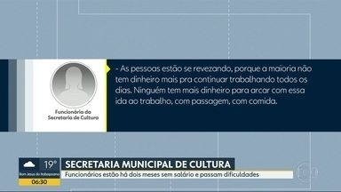Funcionários da Secretaria de Cultura do Rio estão há dois meses sem salários - Funcionários da Secretaria Municipal de Cultura dizem que estão sem receber há dois meses e que estão passando dificuldades.