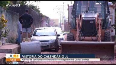 Moradores do Icuí Guajará comemoram início das obras de saneamento em rua do bairro - Equipe do Calendário JL esteve no local 11 vezes.