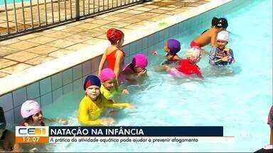Incentivar a prática da natação na infância ajuda a prevenir acidentes - Outras informações no g1.com.br/ce