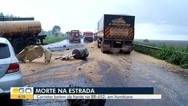 Homem morre, e outro fica ferido em acidente a BR-452, em Itumbiara - Vítima fatal era motorista da carreta.