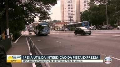BDSP acompanha movimento na Ponte do Socorro nesta quarta-feira - Trânsito é mais tranquilo neste primeiro dia útil de interdição na pista expressa da Marginal Pinheiros, segundo a reportagem
