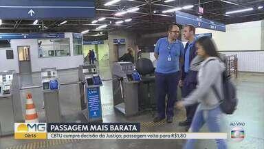 CBTU cumpre decisão da justiça e metrô de BH volta a custar R$ 1,80 - Na última semana, passagens do metrô aumentaram 89% e passaram para R$ 3,40.