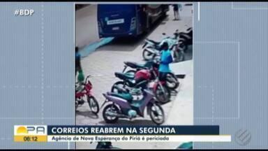 Após assalto em Nova Esperança do Piriá, atividades dos Correios são suspensas - Na terça, homens armados entraram na agência